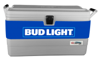 Bud Light Blue 54 Quart White Igloo  Marine Cooler With Wrap