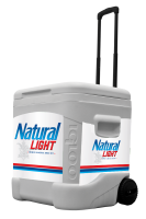 Natural Light 60 Quart Rolling Cooler With Brand Graphics
