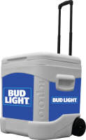 Bud Light Blue 60 Quart Rolling Cooler With Brand Graphics