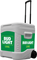 Bud Light Lime 60 Quart Rolling Cooler With Full Brand Graphics