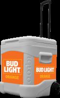Bud Light Orange 60 Quart Rolling Cooler With Full Brand Graphic