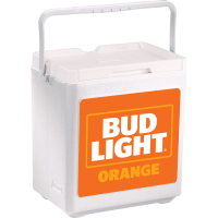 Bud Light Orange 20 Can Stacker in White with Full Panel Logo