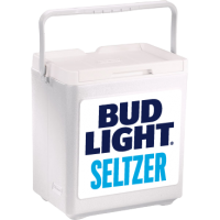 Bud Light Seltzer 20 Can Stacker in White with Full Panel Logo
