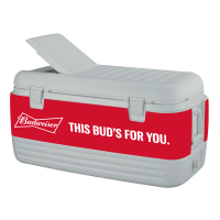 Budweiser 100 Quart  White Igloo Cooler With Wrap Graphics