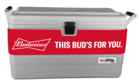 Budweiser 54 Quart  White Igloo  Marine Cooler With Wrap Graphic