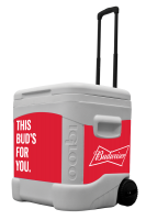 Budweiser 60 Quart Rolling Cooler With Full Brand Graphics