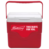 Budweiser 9 Quart Cooler in Red with Full Panel Logo